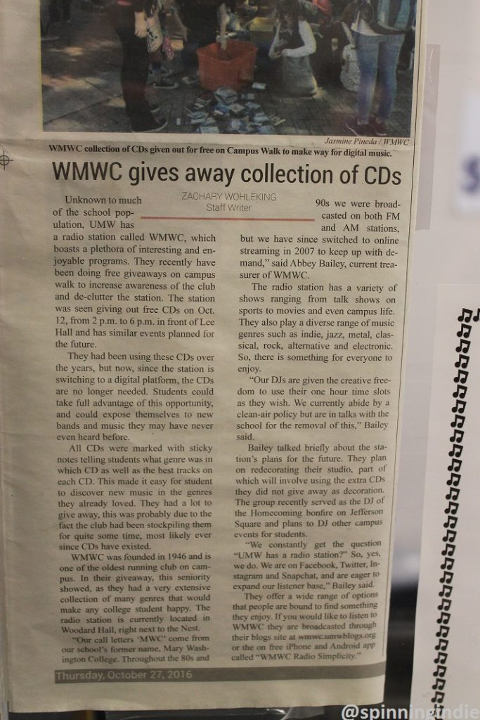 Clipping about WMWC CD giveaway. Photo: J. Waits
