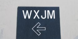 WXJM sign at the entrance to the college radio station. Photo: J. Waits