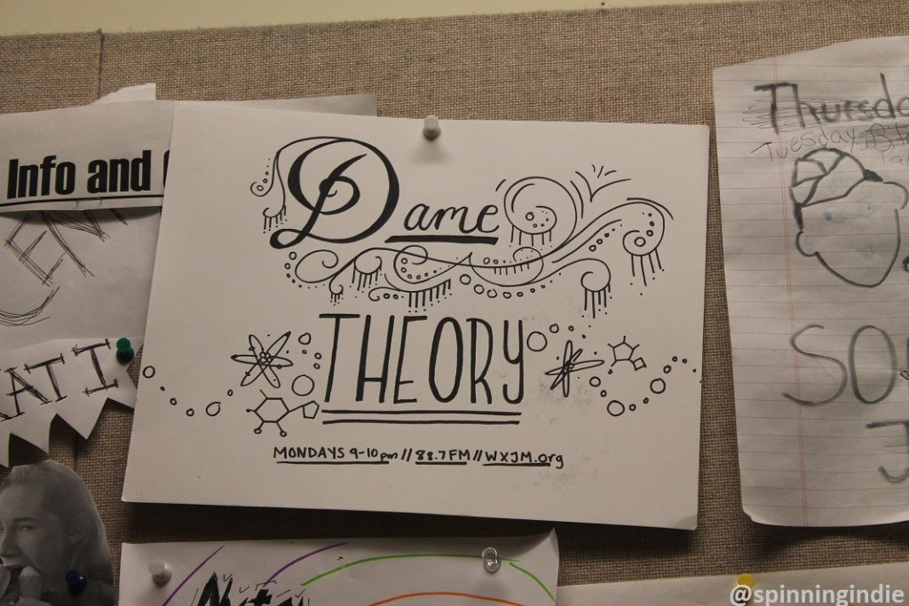 "Flyer for ""Dame Theory"" in WXJM studio. Photo: J. Waits"