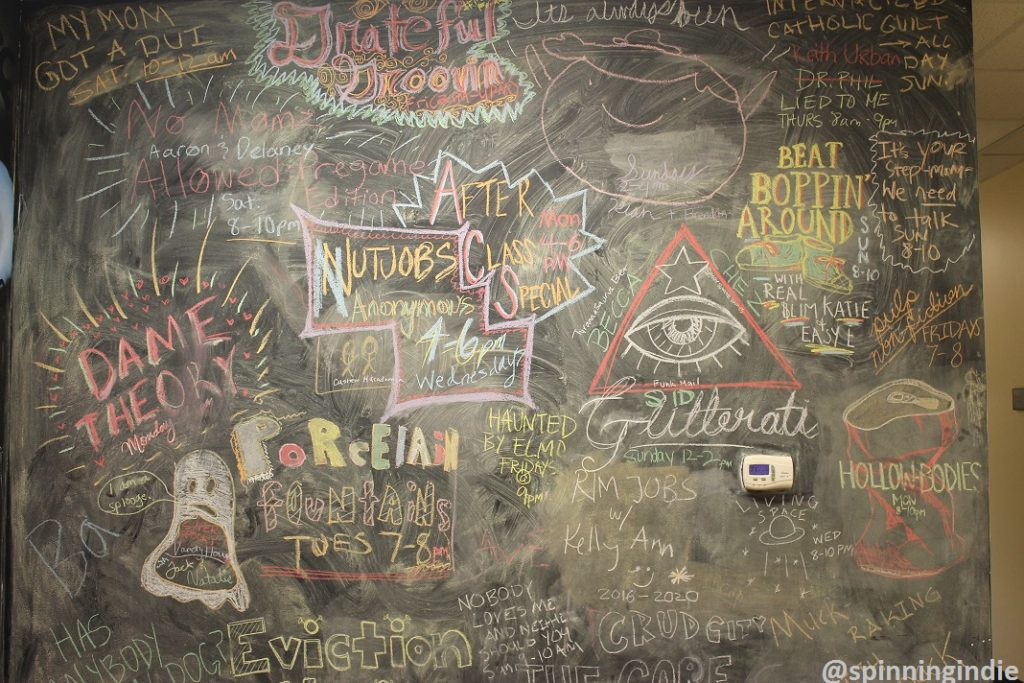 Chalkboard in WXJM lobby. Photo: J. Waits