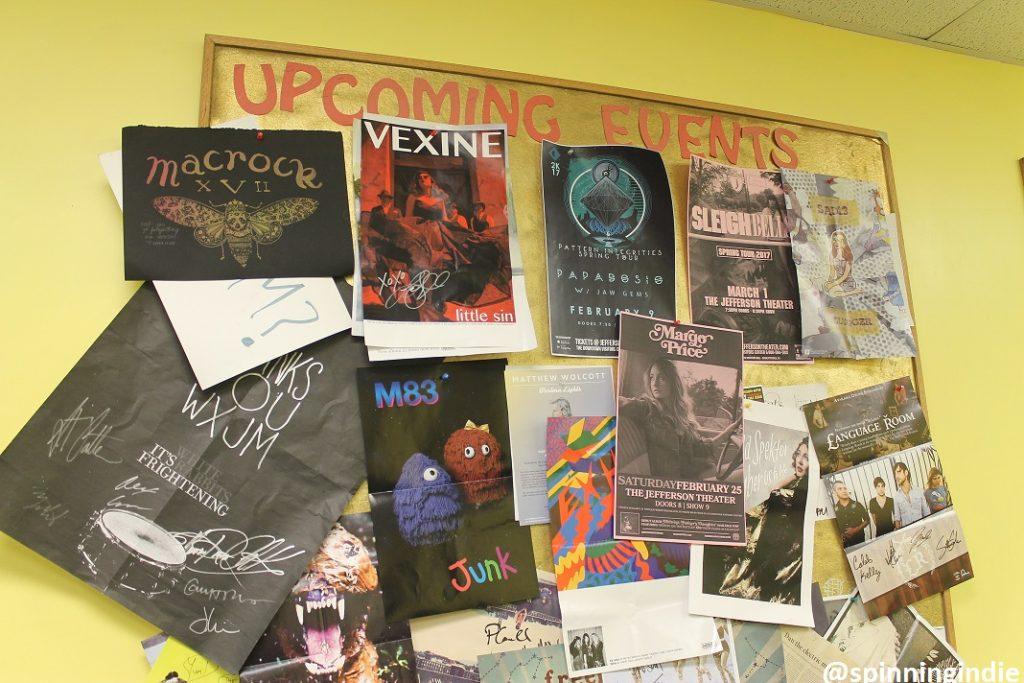 Upcoming events board at WXJM. Photo: J. Waits