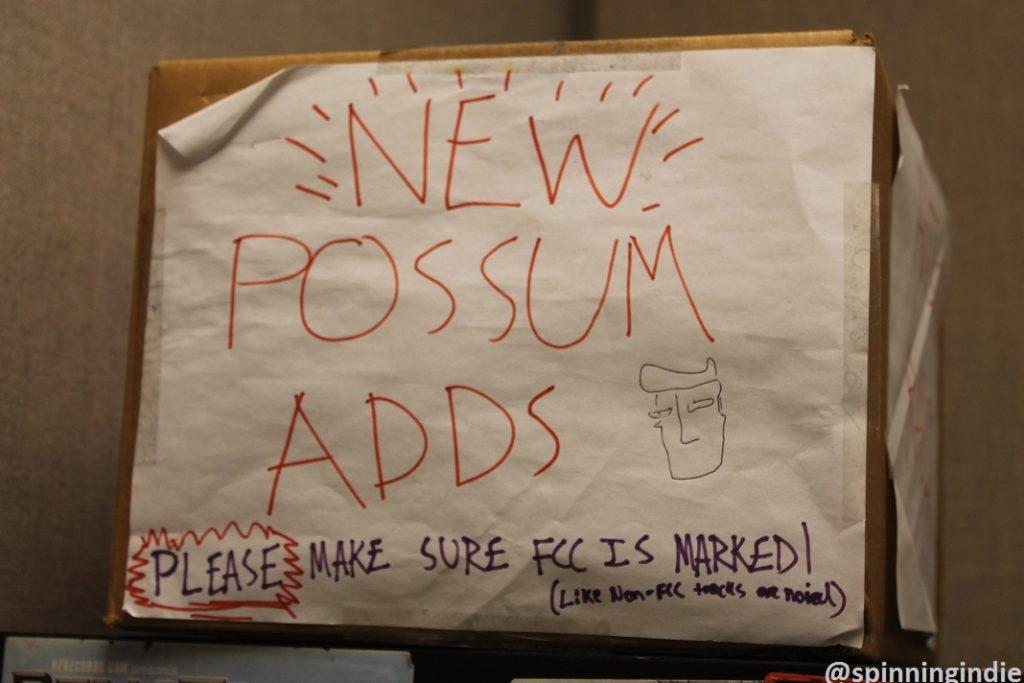 Sign for WXJM's automation system: Possum. Photo: J. Waits