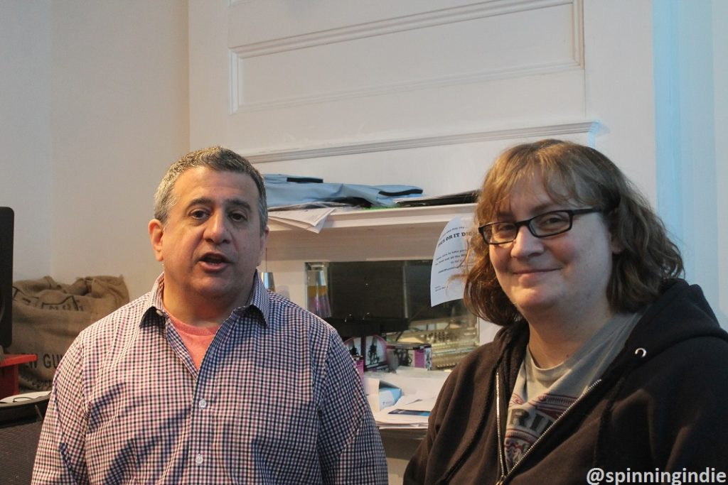 Bill Lupoletti and Anna Creech in the WRIR production studio. Photo: J. Waits