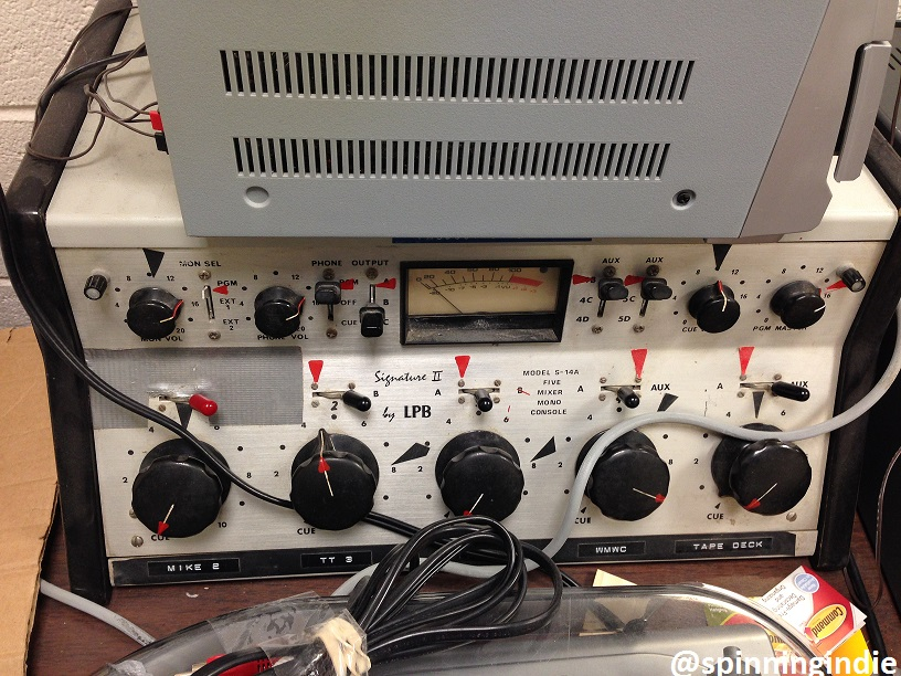 Vintage console at college radio station WMWC. Photo: J. Waits