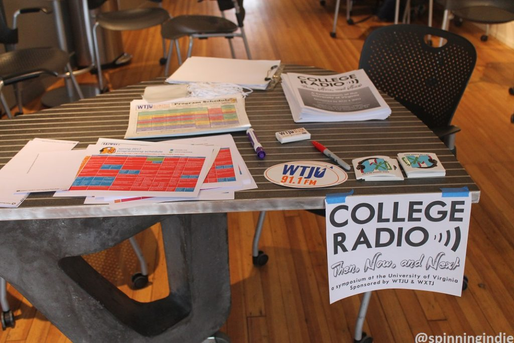 Table at entrance to College Radio: Then, Now and Next symposium. Photo: J. Waits