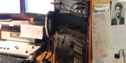 CD players, equipment in college radio station WXTJ's studio. Photo: J. Waits
