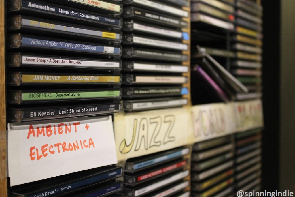 Ambient, electronic, jazz CDs at WDCE. Photo: J. Waits