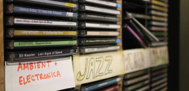 Ambient, electronic, jazz CDs at college radio station WDCE. Photo: J. Waits