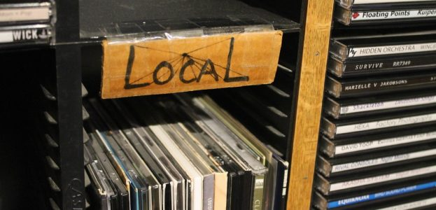 Local CDs in college radio station WDCE studio. Photo: J. Waits