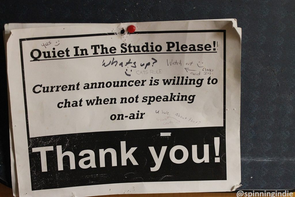 Quiet in the Studio sign at WTJU. Photo: J. Waits