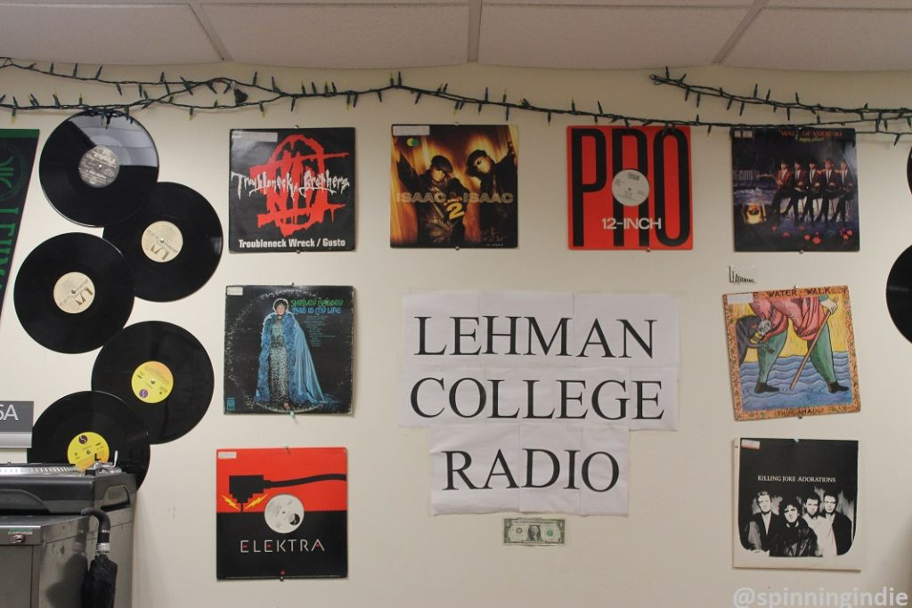 Vinyl records and album covers on the wall at Lehman College Radio. Photo: J. Waits