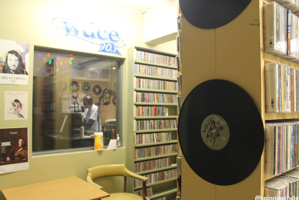 View of the WDCE on-air studio from the college radio station's CD library. Photo: J. Waits