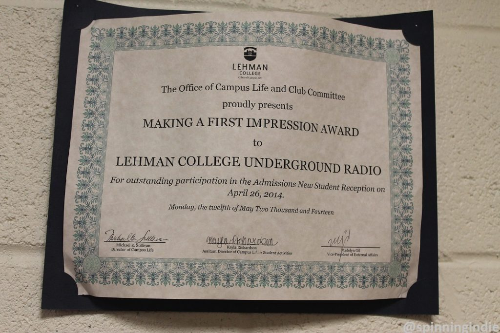 Award on the wall at Lehman College Radio. Photo: J. Waits