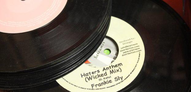 "7"" vinyl records at WHCL. Photo: J. Waits"