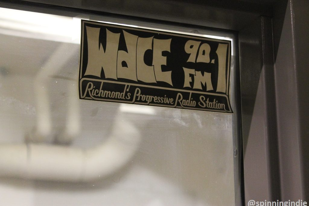 Vintage WDCE sticker posted on a window at the radio station. Photo: J. Waits