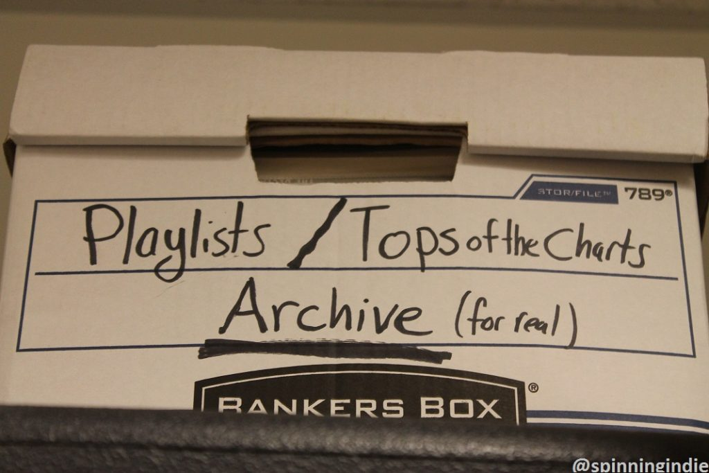 Box of playlists and top of the charts lists at WTJU. Photo: J. Waits