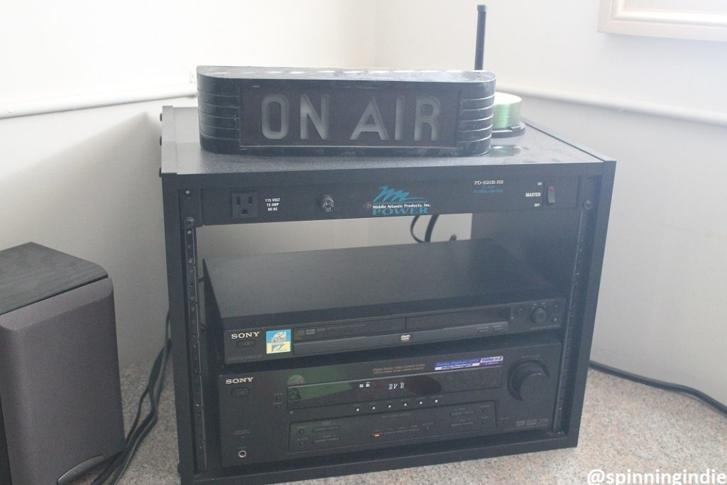 Equipment and On-Air sign in WUVA studio. Photo: J. Waits