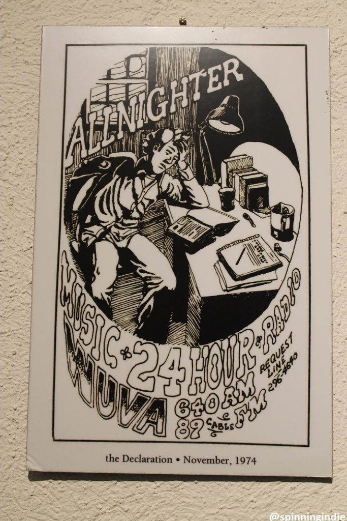 1974 WUVA promotional cartoon posted on the wall at WUVA. Photo: J. Waits