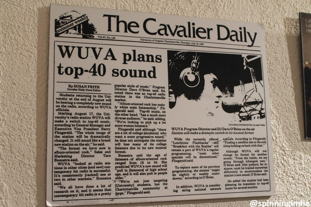 1980s press clipping posted on the wall at WUVA. Photo: J. Waits