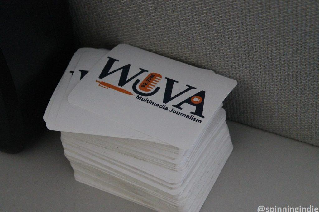 WUVA stickers at WUVA. Photo: J. Waits