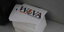WUVA stickers at commercial college radio station WUVA. Photo: J. Waits