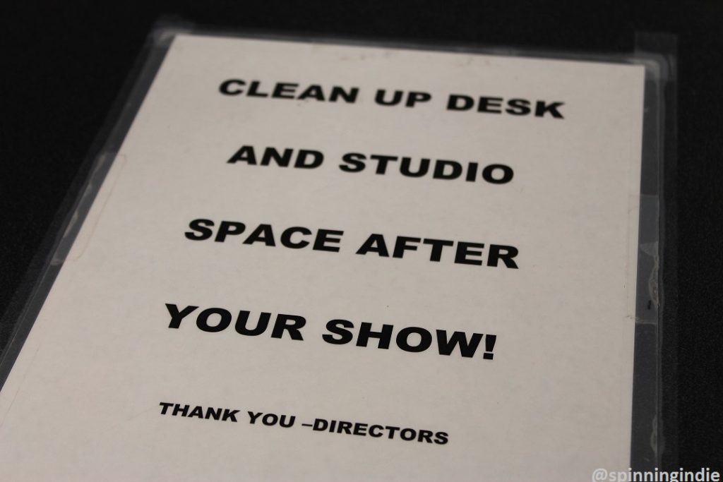 """""""Clean Up"""" sign at WHIP. Photo: J. Waits"""