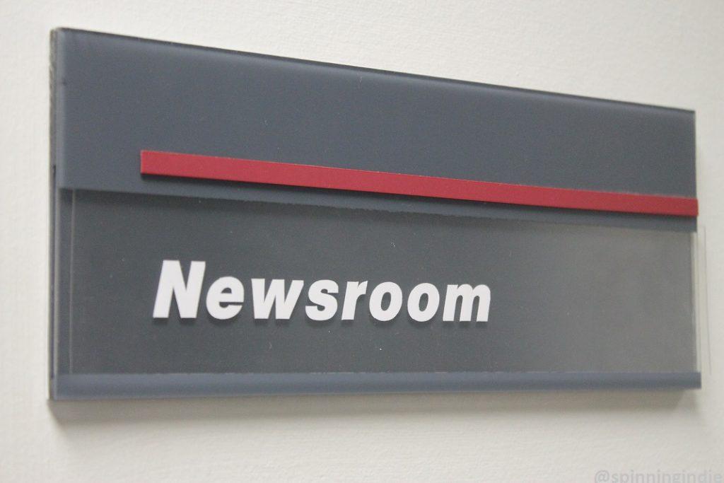 Newsroom sign at WHIP. Photo: J. Waits