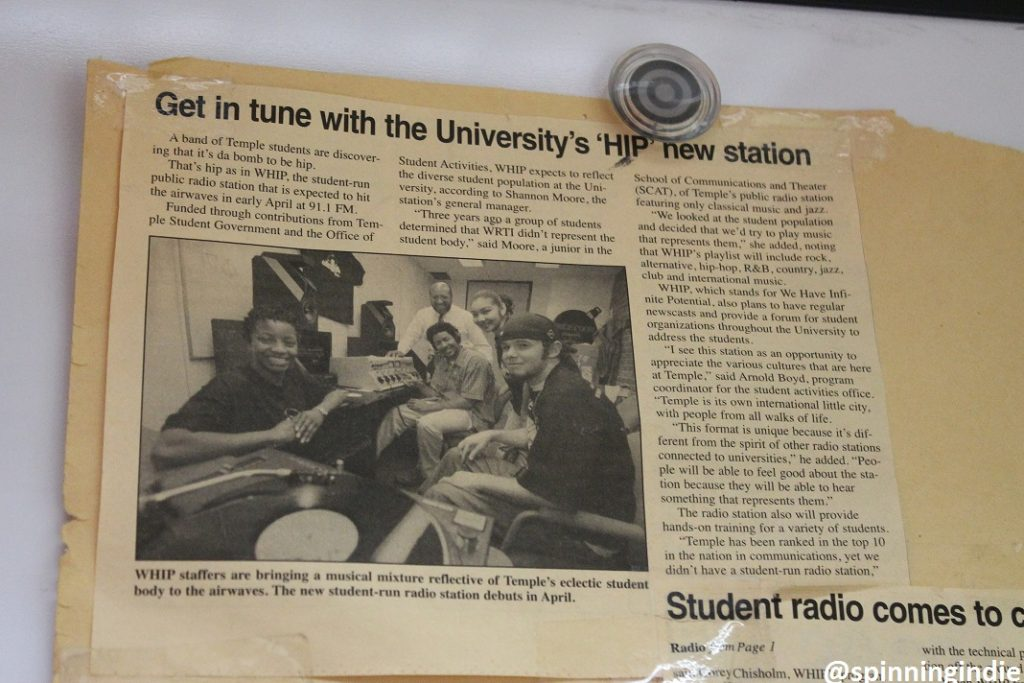 Press clipping on the wall of WHIP about the early days of the college radio station. Photo: J. Waits