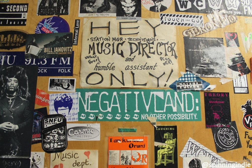 Sticker-covered door at college radio station WCWM. Photo: J. Waits