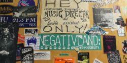 Sticker-covered door at college radio station WCWM. Photo: J. Waits
