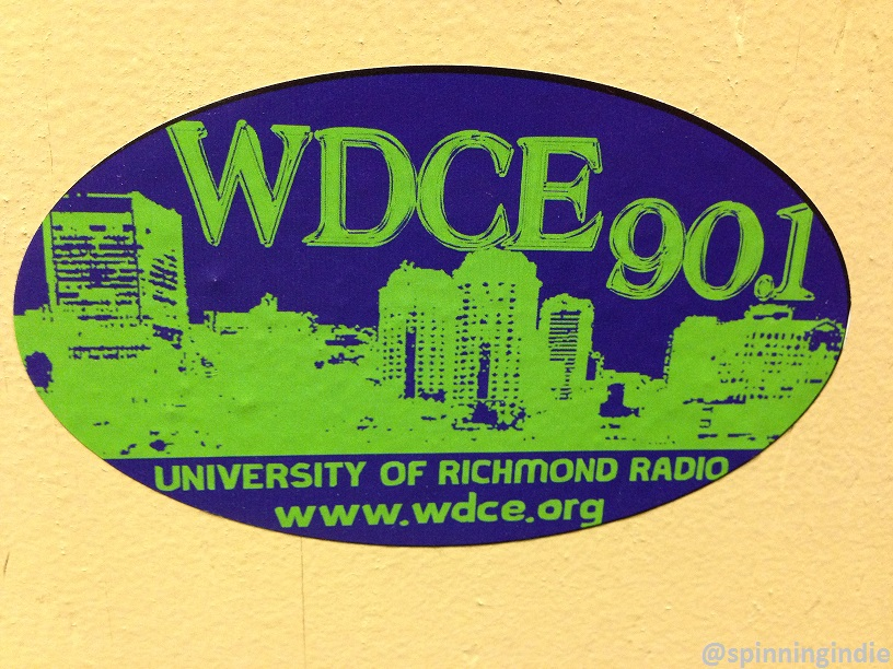 WDCE sticker on the wall of the University of Richmond college radio station. Photo: J. Waits
