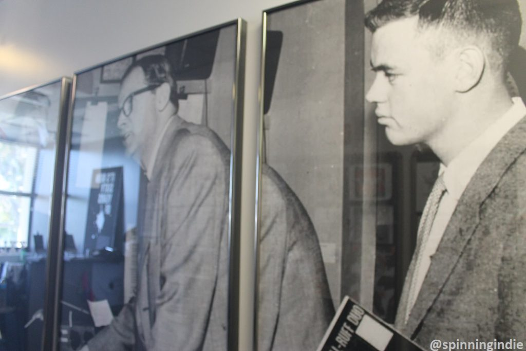 Vintage photos on the wall at college radio station KXLU. Photo: J. Waits