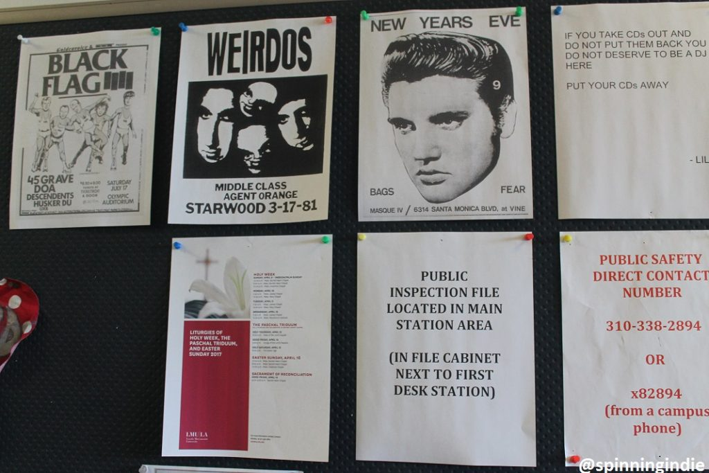 Flyers on wall at KXLU. Photo: J. Waits