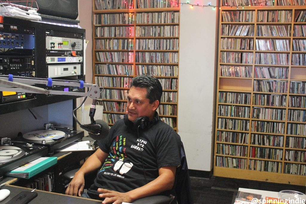 Alma del Barrio DJ in the KXLU studio. Photo: J. Waits