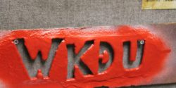 WKDU stencil at the Drexel University college radio station. Photo: J. Waits