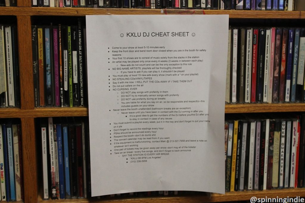 DJ cheat sheet in KXLU studio. Photo: J. Waits
