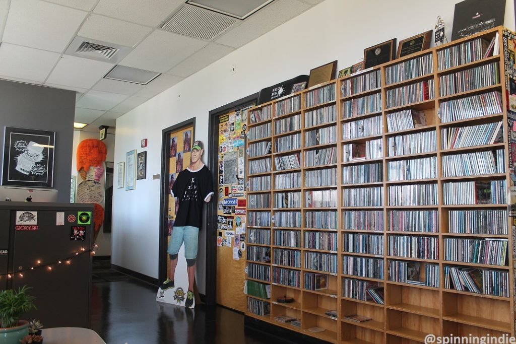 Shelves of CDs at college radio station KXLU. Photo: J. Waits