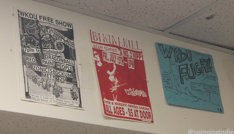 Show flyers on wall at WKDU. Photo: J. Waits