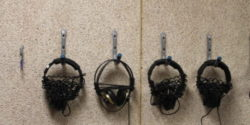 headphones at college radio station WMFO. Photo: J. Waits