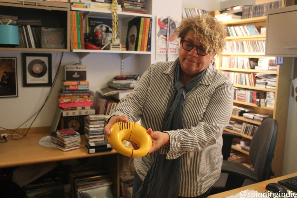 WFUV Program Director Rita Houston showing off vintage gems in her office. Photo: J. Waits