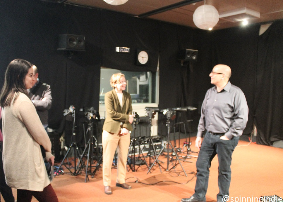Mary Munshower, Brian Mast (in background), Dean Maura Mast and Chuck Singleton in live studio at WFUV. Photo: J. Waits