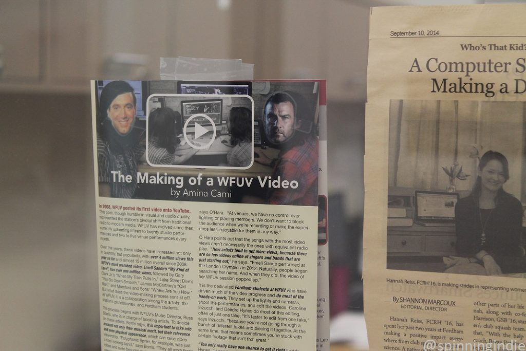 Press clippings about WFUV's video operation. Photo: J. Waits