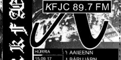 poster for college radio station KFJC's broadcast from Iceland with MYRKFAELNI