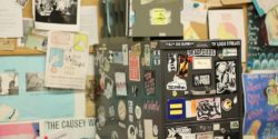 Sticker-covered cabinet at KDVS. Photo: J. Waits