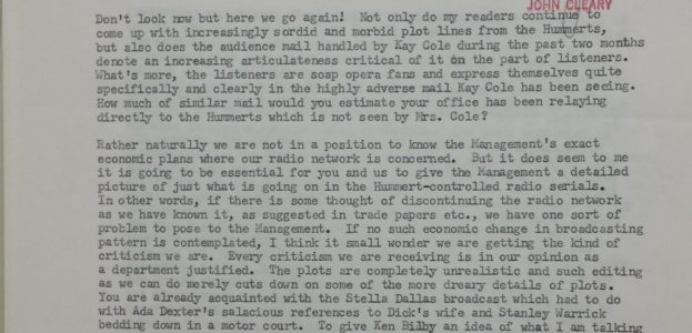 """1955 internal memo from National Broadcasting company about radio soap opera programming. Image Credit: Stockton Helffrich, """"Memo from Stockton Helffrich to John Cleary,"""" February 2, 1955, Folder 112; Box 349; National Broadcasting Company Records, 1921-1976, Wisconsin Historical Society."""