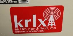 KRLX sticker at the Carleton college radio station. Photo: J. Waits