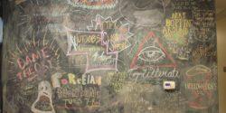Chalkboard in college radio station WXJM's lobby. Photo: J. Waits
