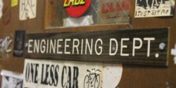 Engineering Dept. sign at college radio station WKDU. Photo: J. Waits